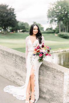 Real bride Sunny wears Halsey by Laudae from Sash & Bustle - Wedding Dress Bustle, Slit Wedding Dress, Wedding Gowns, Tea Length Bridesmaid Dresses, Wedding Bridesmaids, Halsey, Special Occasion Dresses, Sash, Bridal