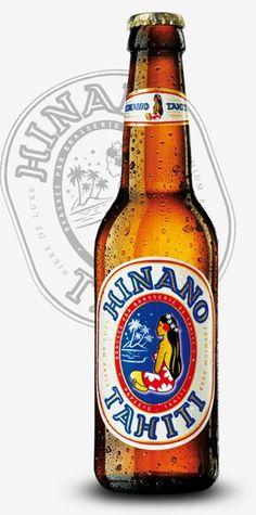 Cerveja Hinano Lager, estilo Standard American Lager, produzida por La Brasserie de Tahiti, Taiti. 5% ABV de álcool.