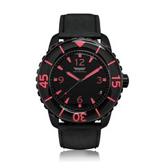 SkyWatch - Ladies sports - The matt black 38 mm stainless steel case, with a vivacious pink enamel coated beze...
