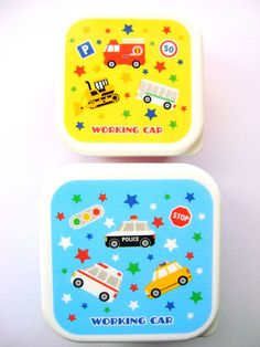 2 Snack Size Bento Boxes 1 Tier Cute Vehicles Working Car Blue Yellow Red | eBay