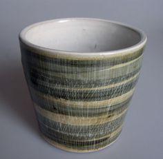 Rye Pottery Striped Studio Art Pottery Pot Holder Flower Pot Holder   eBay
