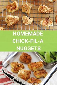 A homemade version of chick-fil-a nuggets that tastes just as crispy and delicious. They're easy to make and gluten-free! Easy Chicken Recipes, Healthy Dinner Recipes, Paleo Recipes, Chicken Ideas, Skinny Recipes, Chick Fil A Nuggets, Nuggets Recipe, Lunch To Go, Baking Tips
