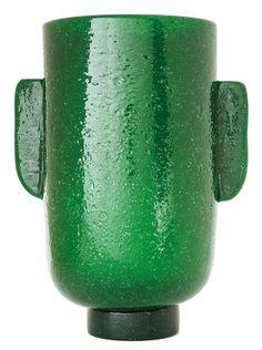 """Carlo SCARPA (1907-1978) & VENINI - MURANO A Pulegoso green air bubbled glass """"A bollicine"""" vase, circa 1932-1936."""