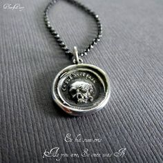 Skull Necklace  A Memento Mori from a latin by PlumAndPoseyInc, $69.00