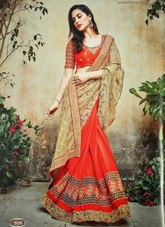Wide range of saree available online. Buy this Red and Gold Embroidered Net and Satin Chiffon Designer Half and Half Saree With designer Blouse. Satin Saree, Chiffon Saree, Saree Dress, Lehenga Saree, Sari Blouse, Red Saree Wedding, Indian Wedding Outfits, Wedding Dresses, Bridal Sarees Online