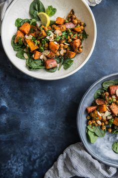 Roasted Sweet Potato Salad With Harissa Chickpeas