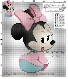 Baby Minnie Mouse x-stitch Hama Disney, Disney Stich, Cross Stitch Art, Cross Stitching, Cross Stitch Patterns, Disney Babys, Crochet Disney, Mickey And Friends, Christmas Cross
