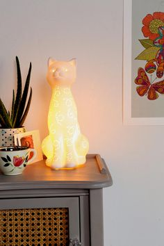Porcelain Cat Lamp - Urban Outfitters