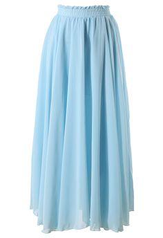 Light Blue Long Maxi Skirt