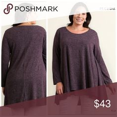 PLUS-HOST PICK!!!Plum Flare Top Long sleeve layered flare top.  65% Cotton 35% Polyester Tops Tunics