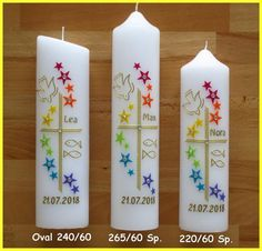 Baptismy candle boy / girl-motif cross / pigeon / rainbow / star row / including caption - Hand-decorated candle – 3 different sizes The candle bears the RAL quality seal and is made in Ge - Rainbow Star, Rainbow Dash, Candle Centerpieces, Pillar Candles, Pigeon, Diy Jewelry To Sell, Diy Crafts To Do, Maila, Fall Color Palette