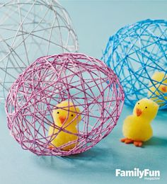 Catch spring fever with our quick and easy Easter decorating ideas for your home. We have an array of fun and colorful DIY spring decorations that you'll be sure to love, from Easter mantel decor to kid-friendly crafts. Duck Crafts, String Crafts, Diy Ostern, Easter Activities, Party Activities, Decoration Design, Easter Crafts For Kids, Easter Projects, Easter Party