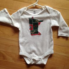 Minnesota Wild Baby Oneise ~ Size 3-6 Months ~ One-of-a-Kind ~ NEW Embellished with MN Wild NHL Fabric Applique ~ Great Unique Gift for Baby by ArtThatCooks on Etsy