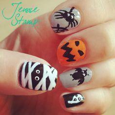 Spooky Halloween Nail art by http://jenniestamp.com/