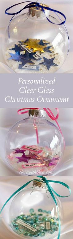 Clear glass ball in christmas ornaments silver tops