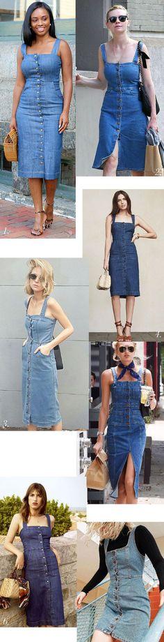 5953382be Look Primavera - Verão · Denim dress outfit inspiration // Fiona Sundress  pattern by Closet Case Patterns Vestido Soltinho,