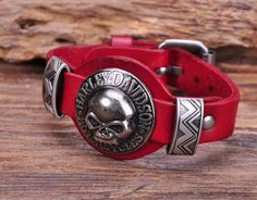 Handmade Biker Skull Leather Bracelet