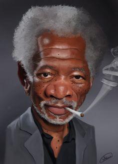 Caricature of Morgan Freeman.  www.wladicm.com.br