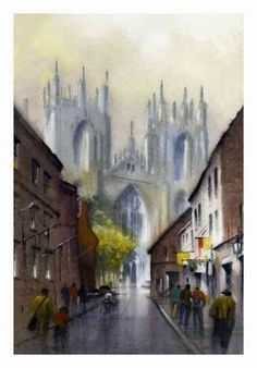 lincoln cathedral by Thomas W. Schaller Watercolor ~ 14 inches x 10 inches