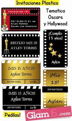 Invitaciones para tu fiesta tematica Hollywood - Oscars, pedilas en http://glam15.com/invitaciones-para-tu-fiesta-tematica-hollywood-oscars/