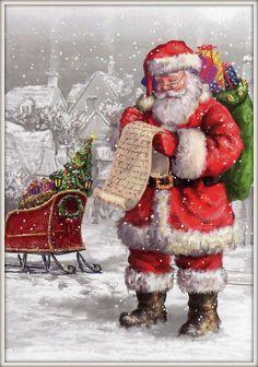 Christmas love this santa Christmas Scenes, Noel Christmas, Father Christmas, Vintage Christmas Cards, Little Christmas, Christmas Pictures, Vintage Cards, Winter Christmas, Christmas Glitter