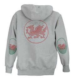 Men's zip hoodie with large Welsh dragon embroidery on back and Welsh flag sleeve patches.   British Made.  http://www.josery.com/collections/mens-hoodie/products/j801-mens-zip-hoodie-with-wales-flag-design-sleeve-patches-and-dragon-design-on-back