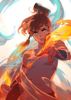 avatar:_the_last_airbender blue_eyes brown_hair dark_skin ein_lee fire hair_tubes korra long_hair ponytail solo the_legend_of_korra water Avatar Aang, Avatar Airbender, Team Avatar, Film Anime, Manga Anime, Anime Art, Manga Girl, Legend Of Aang, Character Art