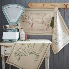 Twin Pack DISH TOWELS - Butchers Cut Chart Style - Beef and Lamb - Premium Cotton on Etsy, $16.61 AUD