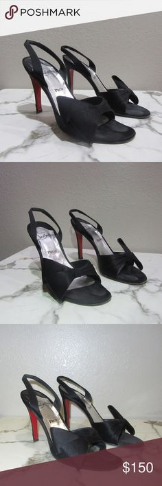 CHRISTIAN LOUBOUTIN SZ 7 Or 37 SILK BOW IVY SHOES 100% authentic LOUBOUTIN sexy heels, super sleek and chic Christian Louboutin Shoes