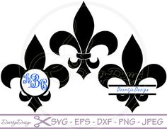 SVG Fleur de Lis, Split Monogram Frames - Clipart files in JPG and PNG & cutting files in EPS, SVG and DXF.  YOU WILL RECEIVE ::::::::::::::::::::::::::::::::::::: 1 ZIP-file : - 1 file in SVG - 1 file in DXF - 1 file in EPS Illustrator 10 and up - 1 file in PNG and transparant background without watermarks - 1 file in JPEG without watermarks - high quality 300 dpi - the item is about 20 cm or about 8  Monogram letters are not included but may be purchased here…