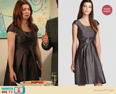 Lily's metallic grey dress with front pleats on How I Met Your Mother. Outfit Details: http://wornontv.net/12112  This Armani dress has been significantly reduced to $310.80