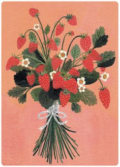 Strawberry painting by Becca Stadtlander.