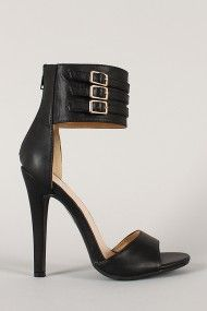 Shoe Republic Arion Buckle Ankle Cuff Open Toe Heel