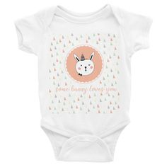 Some Bunny Loves You Baby Onesie ($26AUD) available in White and Asphalt sizes 3-24 months.