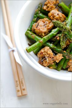 Asparagus and Tempeh Stir Fry with Ginger Pearl Couscous Recipe  by VEGGIE BELLY
