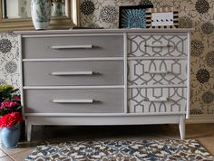 Wallpaper and Gray Dresser from Retiqued.  Love their work!