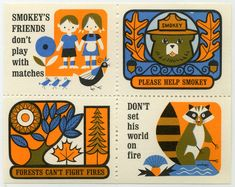 Lovely Mid/late 60s fire-safety stamps from the U.S featuring the mascot for the forest service Smokey the Bear. As shown on the fantastic presentandcorrect blog.