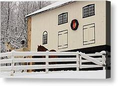 Kimberton Pa Canvas Prints - White Christmas on the Farm Canvas Print by Stephen Hobbs
