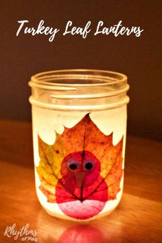 These DIY turkey leaf lanterns are an easy Thanksgiving nature craft for kids and adults. Click through to learn how to make your own leaf luminaries! Easy Fall Crafts, Thanksgiving Crafts, Thanksgiving Decorations, Holiday Crafts, Thanksgiving Activities, Thanksgiving Feast, Holiday Ideas, November Crafts, 12 November