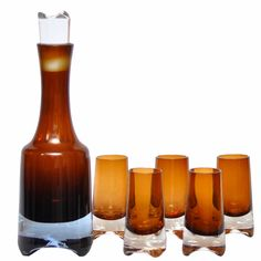 Mid Century Modern Vintage Denby Amber Brown Decanter & Shot Glass Set, The Hour Shop & TheHourshop.com ~curated goods for the modern home bar.Vintage Barware Glassware