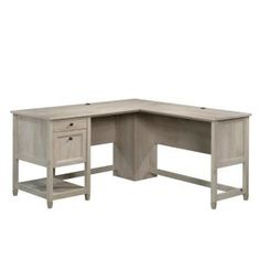 SAUDER 59 in. Edge Water L-Shaped Chalked Chestnut with Cord Management Engineered Wood Desk
