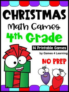 Keep them busy and engaged in the lead up to the Christmas break with these Christmas math games. Includes 14 printable games that review a variety of 4th grade skills. Ideal as a math center. They review math concepts while providing engaging Christmas math activities! Math Board Games, Fun Math Games, Math Activities, Third Grade Math Games, Fourth Grade Math, Christmas Math, Christmas Ideas, Christmas Writing Prompts, Math Concepts