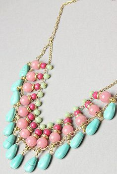 Mint And Pink Triple Layer Necklace