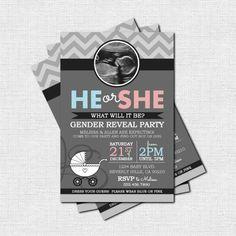 #BabyShowerInvitation GENDER REVEAL INVITATION Baby Party (print your own) Grey Chevron Personalized Printable birthday party invitation invite custom photo gender reveal baby shower printable ultrasound chevron 10.75 USD nowanorris