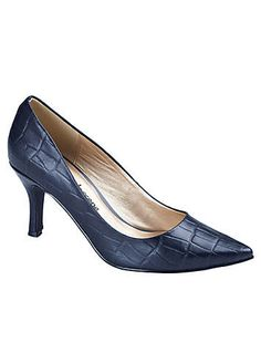 Midnight Blue Leather Croc Print Court Shoes   Holiday Fashion   Womens   Swimwear365