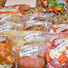10 crockpot meals ready to go! Prep ingredients and place in ziplock bags. Write instructions on bags and freeze flat.