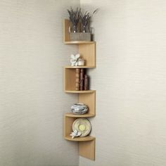 Corner Zig Zag Wall Shelf for Simple Bedroom