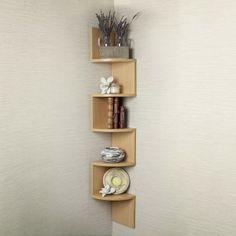 Corner Zig Zag Wall Shelf for Simple Bedroom