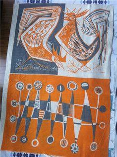 Vintage retro textil tyg Maud Fredin Fredholm 60 70 tal på Tradera.com -