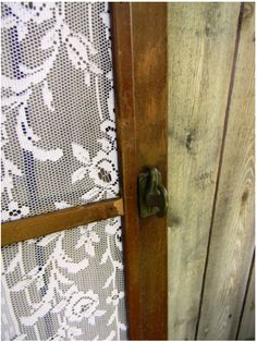 Use lace for screen material on a door or a window.  So cute!